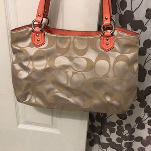 Coach Bags - Champagne and coral coach bag